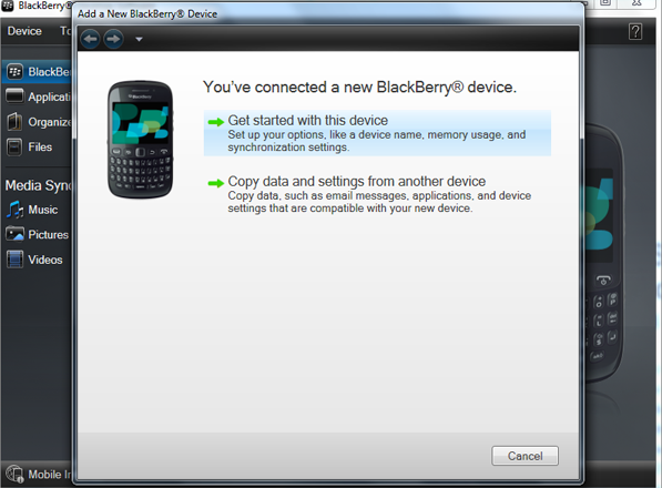 connect blackberry device to import outlook contacts