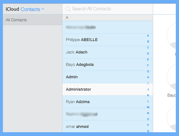 contacts transferred from excel to icloud