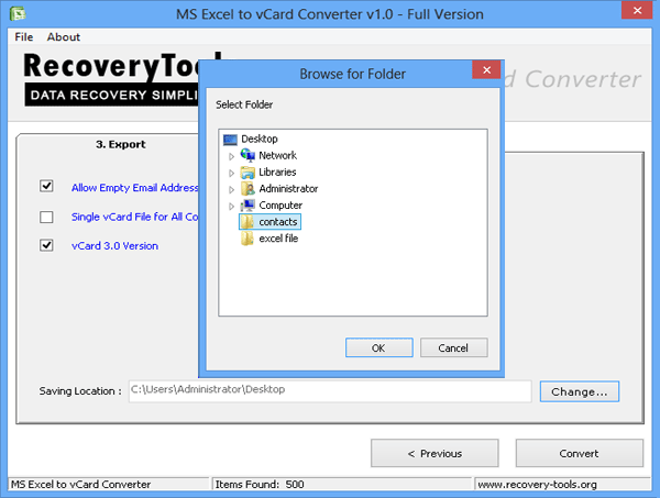 create separate vcf and easily export contacts from excel into outlook
