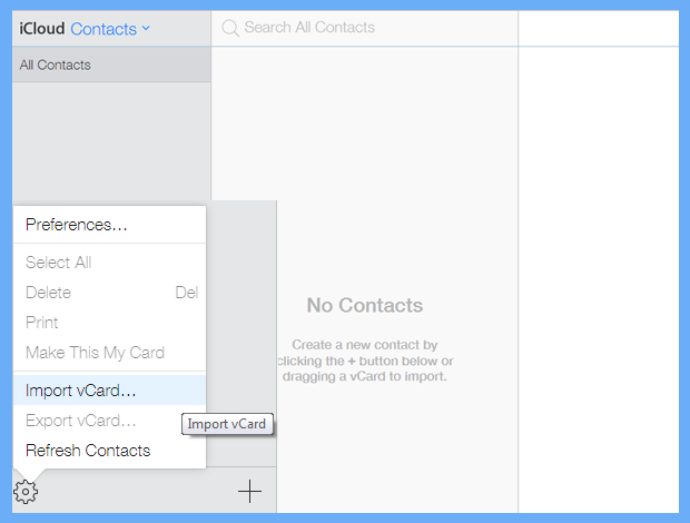 import vcard file to synch icloud contacts withh iphone