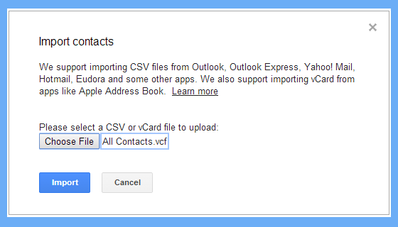 browse and select vcf file to import contacts in gmail