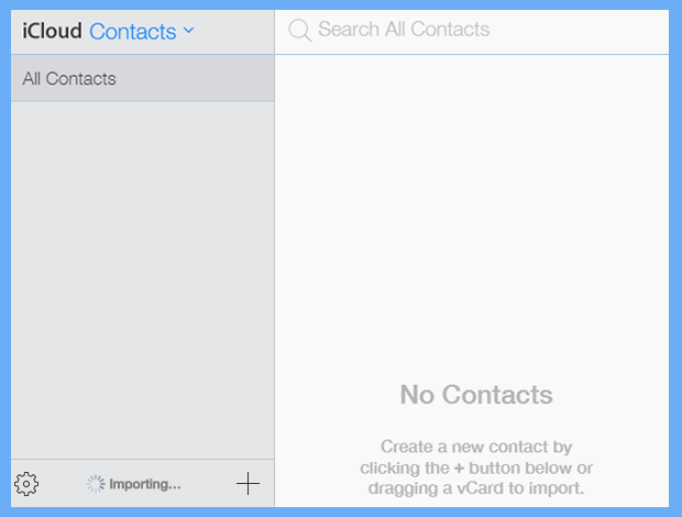 importing process begins for excel to icloud contacts conversion