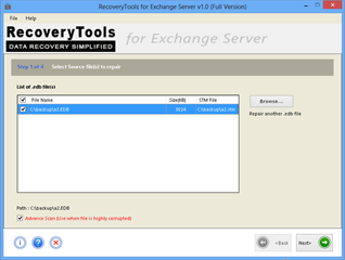 Screenshot Showing Recovery of Exchange EDB to PST file