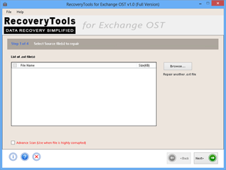 Screenshot of Exchange OST to PST repair tool