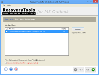 Screen of MS Outlook repair utility