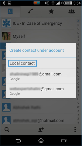select account type to start importing contacts from xls file to android