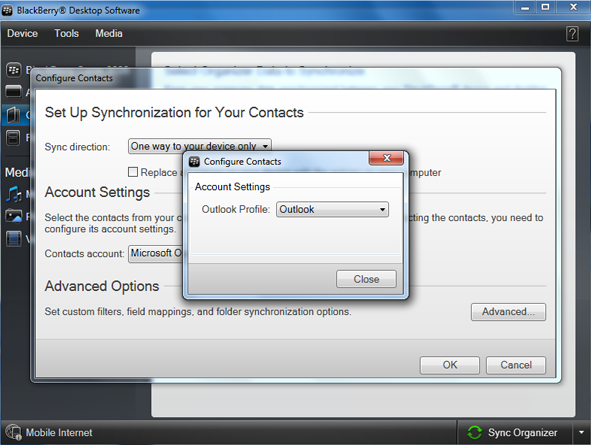 select outlook profile to copy vcf file into blackberry