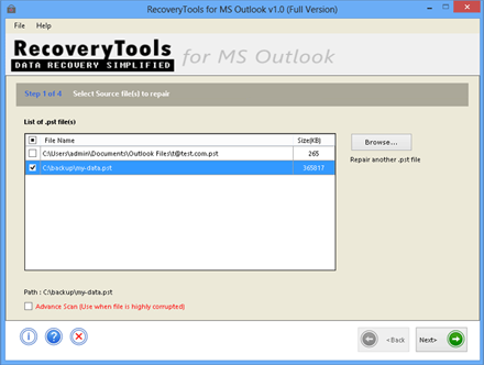 outlook pst recovery screen while browsing pst file