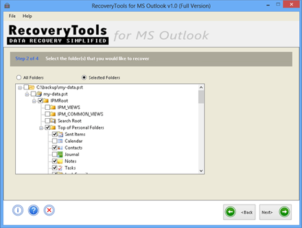 check preview of recovered PST file and select emails
