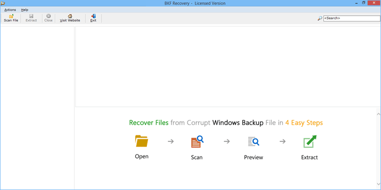 launch RecoveryTools Windows BKF