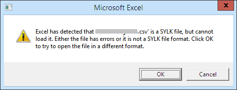 Technique To Fix 'SYLK File Format Is Not Valid' Error