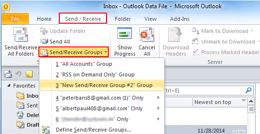 how to i change send receive interval on outlook